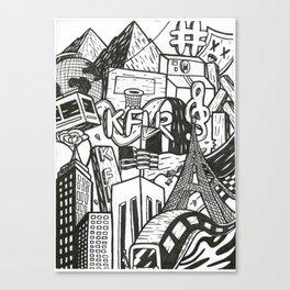 Black and White Graffiti Style Wall Art Canvas Print