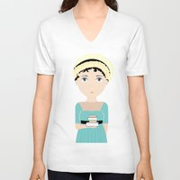 jane austen V-neck T-shirts featuring Jane Austen by Creo tu mundo