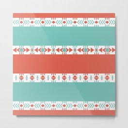 South Western Print in Modern Aqua Turquoise and Coral Geometric Diamonds Arrows Triangles Circles Metal Print