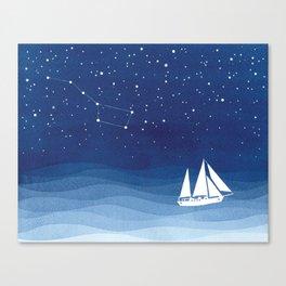 big dipper, sailboat Canvas Print