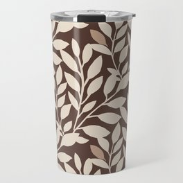 Leaves and Branches in Cream and Brown Travel Mug