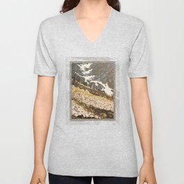 ALPINE MEADOW SNOWFIELD SHAPES OIL PAINTING Unisex V-Neck