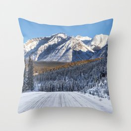 Winter Wonderland - Road in the Canadian Rockies Throw Pillow