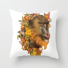 Baboon Rainbows Throw Pillow