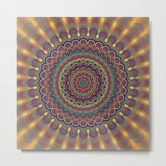 Psychedelic oval  mandala Metal Print