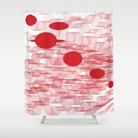 planets Shower Curtains featuring red planets by Loosso