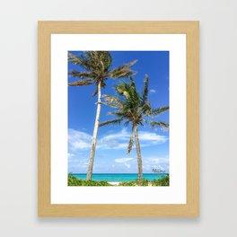 Towering Palm Trees, Blue Sky Framed Art Print
