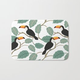 Toucan birds and palm leaves in the jungle Bath Mat