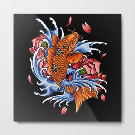 Koi Carp Fish Motif Lovers Gift Design Metal Print