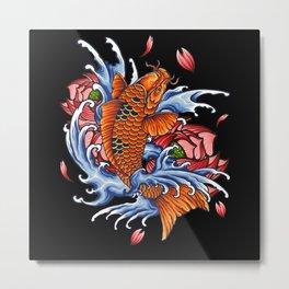Koi Carp Fish Motif Lovers Gift Design Metal Print