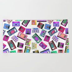 Retro 80's 90's Neon Patterned Cassette Tapes Beach Towel