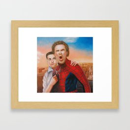 Will Ferrell as spider man along with Tobey Maguire as Jane Framed Art Print