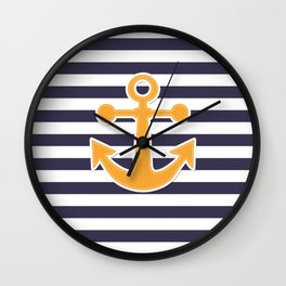 Blue , white , striped Wall Clock