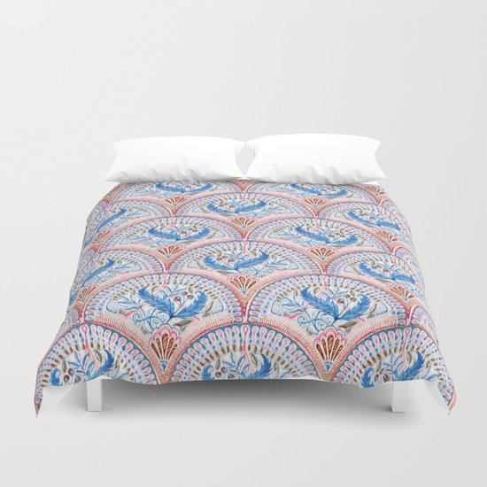 Art Deco Fresco in Sky Blue and Coral Duvet Cover