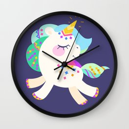 Cute unicorn with colorful mane and tail Wall Clock
