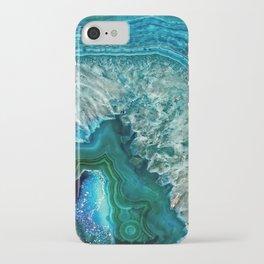 Aqua turquoise agate mineral gem stone - Beautiful Backdrop iPhone Case