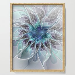 Flourish Abstract, Fantasy Flower Fractal Art Serving Tray