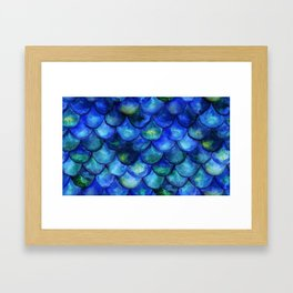Blue Watercolor Mermaid Framed Art Print