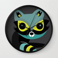 raccoon Wall Clocks featuring Raccoon by Maria Jose Da Luz