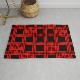 Oriental pattern of intersecting red squares and curly crosses on a black background. Rug