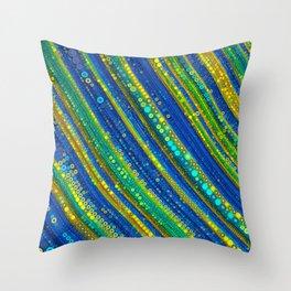 gia - bright stripe abstract design vivid emerald green royal blue gold Throw Pillow