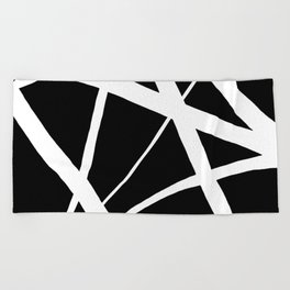 Geometric Line Abstract - Black White Beach Towel