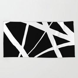 Geometric Line Abstract - Black White Beach Towel