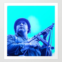 retro American GI soldier with Thompson machine gun  Art Print