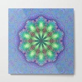 Blue Vintage Flower Background Pattern Metal Print