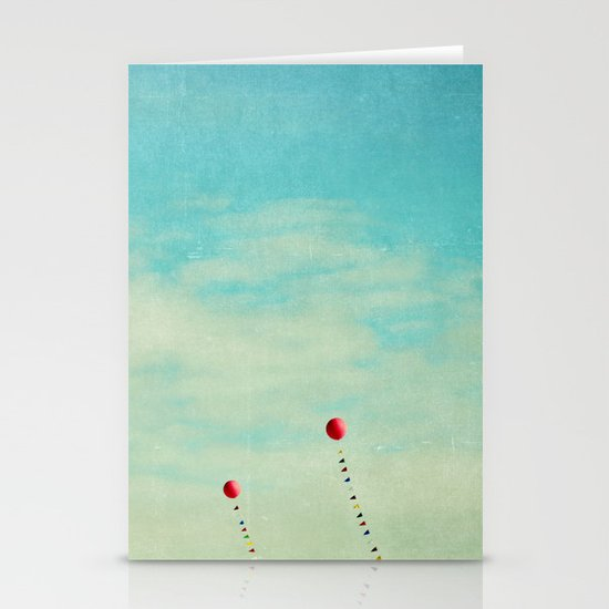 three red balloons II Stationery Cards