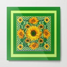 Green Color & Yellow Sunflowers Garden Pattern Art Metal Print