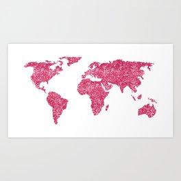 World Map Hot Pink Glitter Sparkles Art Print