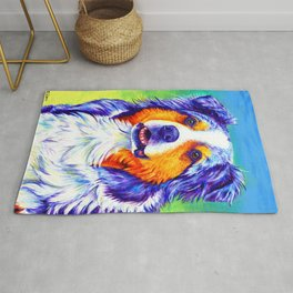 Colorful Blue Merle Australian Shepherd Dog Rug