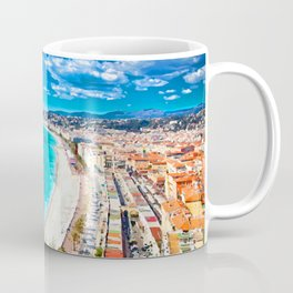 Nice, France Coastline Watercolor Coffee Mug