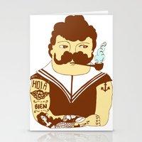 sailor Stationery Cards featuring Sailor by Regina Rivas Bigordá