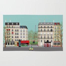 Paris Street Scene Art Print - Daytime Rug