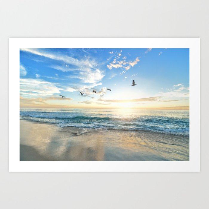 Ocean Beach Waves Sunset Photo Kunstdrucke