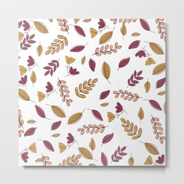 Abstract Burgundy Orange Pink Floral Foliage Metal Print