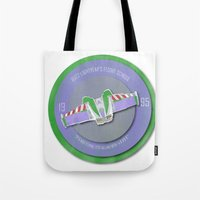 buzz lightyear Tote Bags featuring pixar disney toy story. buzz lightyear flight school  by studiomarshallarts