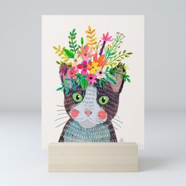 Cat with flowers Mini Art Print