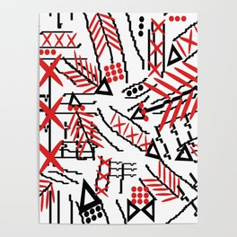 Tribal Marks red by Lorloves Design Poster