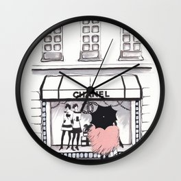Shopping In The Rain Wall Clock