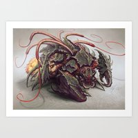 starcraft Art Prints featuring RED WHIP THRESHER by The Art of Austen Mengler