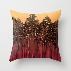 FOREST THROUGH THE TREES 12 Hot Pink Magenta Orange Black Landscape Ombre Abstract Painting Outdoors Throw Pillow