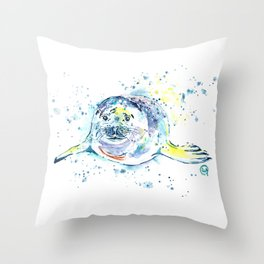 Harbour Seal Watercolor Painting - Emil Throw Pillow