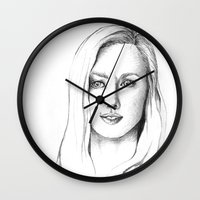 karen hallion Wall Clocks featuring Karen Page by Bitterness