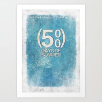 500 days of summer Art Prints featuring 500 Days Of Summer by Alex Malyon