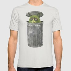Grouchy Cat  Mens Fitted Tee LARGE Silver