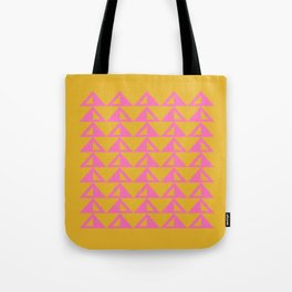 Geometric Triangle Pattern in Sunny Yellow and Neon Pink Tote Bag