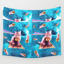 Space Cat Eating Pizza - Rainbow Laser Eyes, Burrito Wall Tapestry